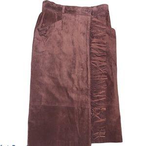 Alfred Sung Sport Vintage Brown Suede Skirt Sz 14